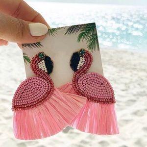 Flamingo beaded earrings (Y12)